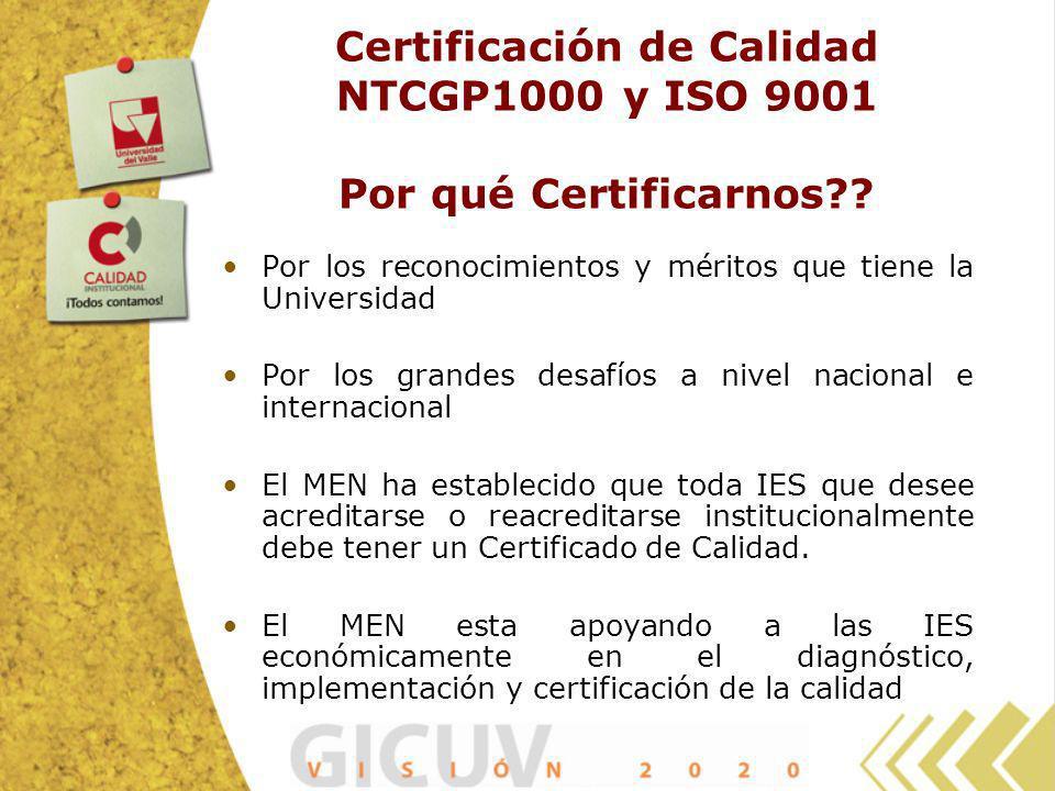 Certificación de Calidad NTCGP1000 y ISO 9001 Por qué Certificarnos?? Por los reconocimientos y méritos que tiene la Universidad Por los grandes desaf