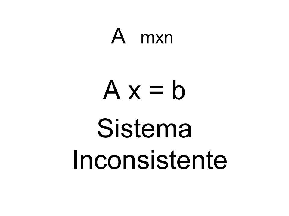 A mxn A x = b Sistema Inconsistente