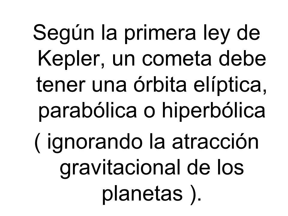 Según la primera ley de Kepler, un cometa debe tener una órbita elíptica, parabólica o hiperbólica ( ignorando la atracción gravitacional de los plane