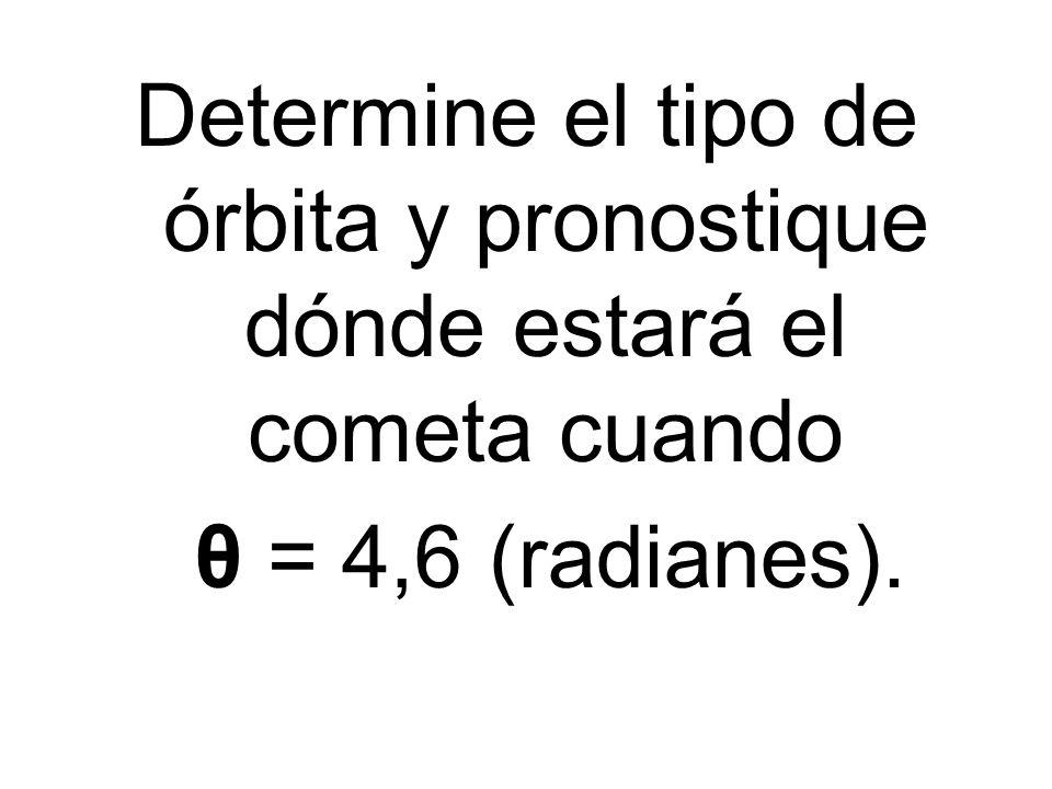 Determine el tipo de órbita y pronostique dónde estará el cometa cuando θ = 4,6 (radianes).