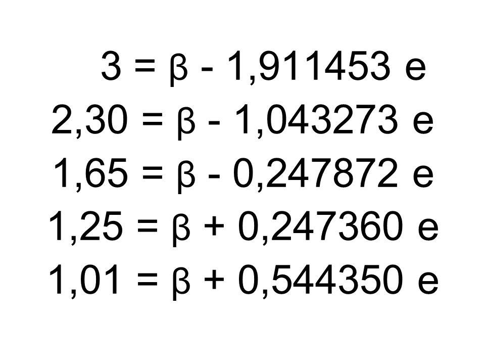3 = β - 1,911453 e 2,30 = β - 1,043273 e 1,65 = β - 0,247872 e 1,25 = β + 0,247360 e 1,01 = β + 0,544350 e