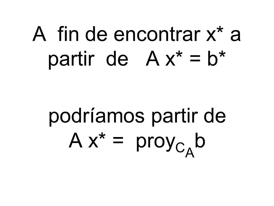 A fin de encontrar x* a partir de A x* = b* podríamos partir de A x* = proy C A b