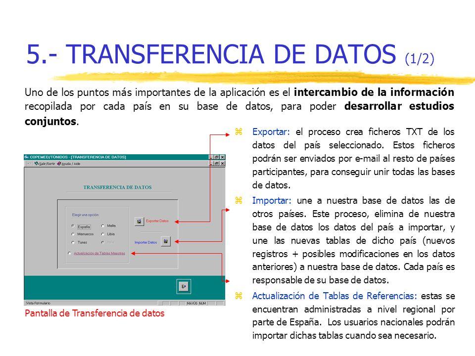 5.- TRANSFERENCIA DE DATOS (1/2) zExportar: el proceso crea ficheros TXT de los datos del país seleccionado. Estos ficheros podrán ser enviados por e-
