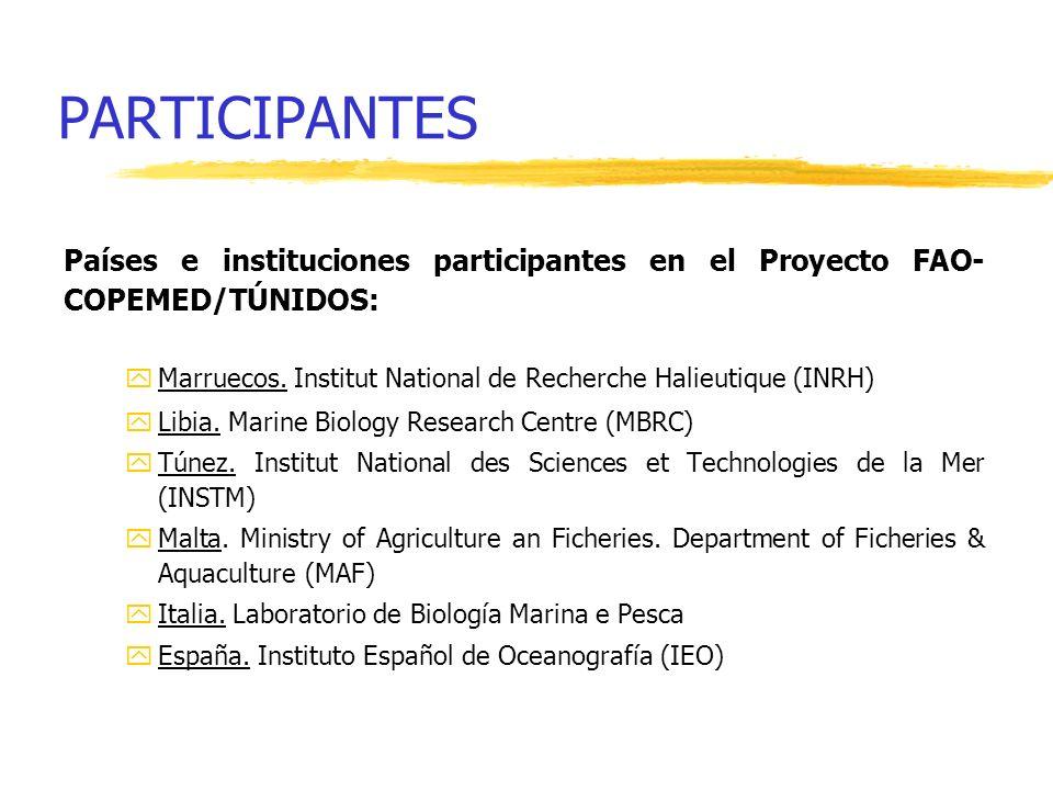 PARTICIPANTES Países e instituciones participantes en el Proyecto FAO- COPEMED/TÚNIDOS: yMarruecos. Institut National de Recherche Halieutique (INRH)