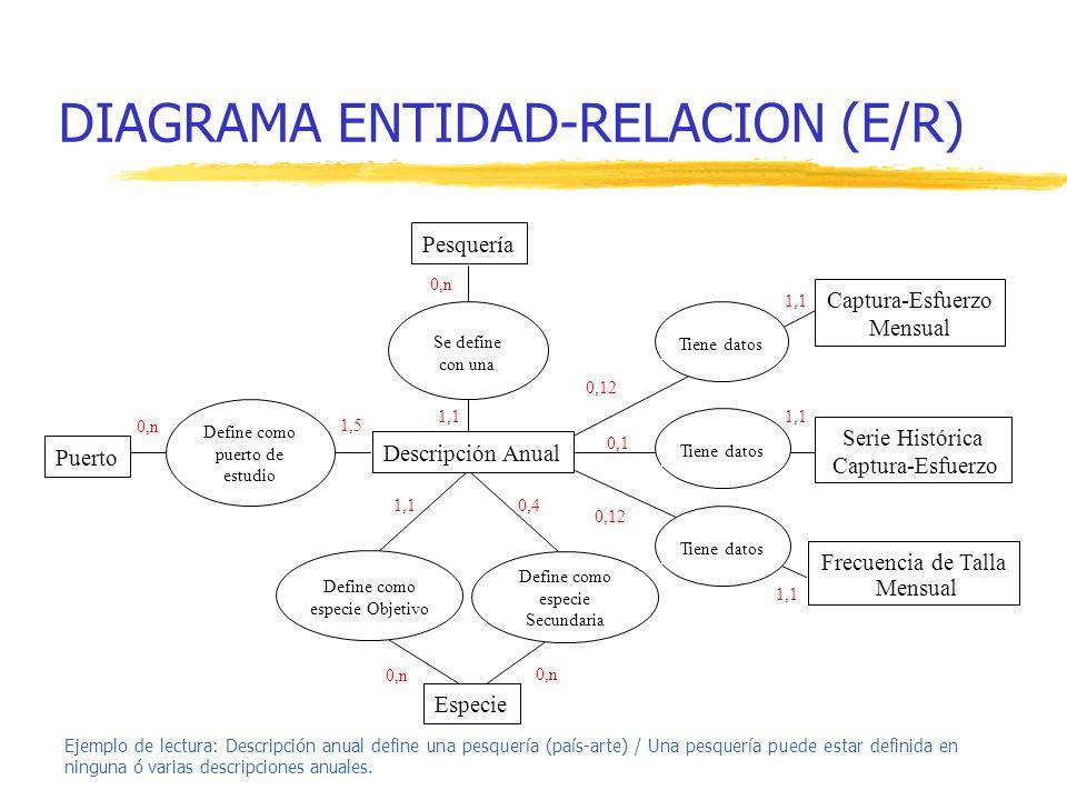 DIAGRAMA ENTIDAD-RELACION (E/R) Se define con una Define como puerto de estudio Tiene datos Pesquería Especie Puerto Captura-Esfuerzo Mensual Serie Hi