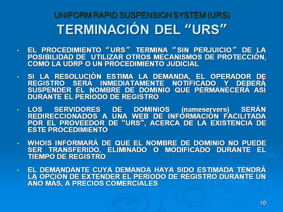 10 TERMINACIÓN DEL URS EL PROCEDIMIENTO URS TERMINA SIN PERJUICIO DE LA POSIBILIDAD DE UTILIZAR OTROS MECANISMOS DE PROTECCIÓN, COMO LA UDRP O UN PROCEDIMIENTO JUDICIAL EL PROCEDIMIENTO URS TERMINA SIN PERJUICIO DE LA POSIBILIDAD DE UTILIZAR OTROS MECANISMOS DE PROTECCIÓN, COMO LA UDRP O UN PROCEDIMIENTO JUDICIAL SI LA RESOLUCIÓN ESTIMA LA DEMANDA, EL OPERADOR DE REGISTRO SERÁ INMEDIATAMENTE NOTIFICADO Y DEBERÁ SUSPENDER EL NOMBRE DE DOMINIO QUE PERMANECERÁ ASÍ DURANTE EL PERÍODO DE REGISTRO SI LA RESOLUCIÓN ESTIMA LA DEMANDA, EL OPERADOR DE REGISTRO SERÁ INMEDIATAMENTE NOTIFICADO Y DEBERÁ SUSPENDER EL NOMBRE DE DOMINIO QUE PERMANECERÁ ASÍ DURANTE EL PERÍODO DE REGISTRO LOS SERVIDORES DE DOMINIOS (nameservers) SERÁN REDIRECCIONADOS A UNA WEB DE INFORMACIÓN FACILITADA POR EL PROVEEDOR DE URS, ACERCA DE LA EXISTENCIA DE ESTE PROCEDIMIENTO LOS SERVIDORES DE DOMINIOS (nameservers) SERÁN REDIRECCIONADOS A UNA WEB DE INFORMACIÓN FACILITADA POR EL PROVEEDOR DE URS, ACERCA DE LA EXISTENCIA DE ESTE PROCEDIMIENTO WHOIS INFORMARÁ DE QUE EL NOMBRE DE DOMINIO NO PUEDE SER TRANSFERIDO, ELIMINADO O MODIFICADO DURANTE EL TIEMPO DE REGISTRO WHOIS INFORMARÁ DE QUE EL NOMBRE DE DOMINIO NO PUEDE SER TRANSFERIDO, ELIMINADO O MODIFICADO DURANTE EL TIEMPO DE REGISTRO EL DEMANDANTE CUYA DEMANDA HAYA SIDO ESTIMADA TENDRÁ LA OPCIÓN DE EXTENDER EL PERÍODO DE REGISTRO DURANTE UN AÑO MÁS, A PRECIOS COMERCIALES EL DEMANDANTE CUYA DEMANDA HAYA SIDO ESTIMADA TENDRÁ LA OPCIÓN DE EXTENDER EL PERÍODO DE REGISTRO DURANTE UN AÑO MÁS, A PRECIOS COMERCIALES UNIFORM RAPID SUSPENSION SYSTEM (URS)