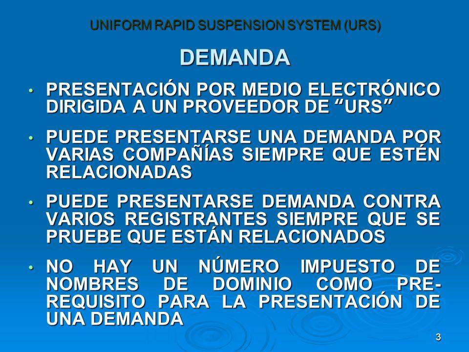 3 DEMANDA PRESENTACIÓN POR MEDIO ELECTRÓNICO DIRIGIDA A UN PROVEEDOR DE URS PRESENTACIÓN POR MEDIO ELECTRÓNICO DIRIGIDA A UN PROVEEDOR DE URS PUEDE PRESENTARSE UNA DEMANDA POR VARIAS COMPAÑÍAS SIEMPRE QUE ESTÉN RELACIONADAS PUEDE PRESENTARSE UNA DEMANDA POR VARIAS COMPAÑÍAS SIEMPRE QUE ESTÉN RELACIONADAS PUEDE PRESENTARSE DEMANDA CONTRA VARIOS REGISTRANTES SIEMPRE QUE SE PRUEBE QUE ESTÁN RELACIONADOS PUEDE PRESENTARSE DEMANDA CONTRA VARIOS REGISTRANTES SIEMPRE QUE SE PRUEBE QUE ESTÁN RELACIONADOS NO HAY UN NÚMERO IMPUESTO DE NOMBRES DE DOMINIO COMO PRE- REQUISITO PARA LA PRESENTACIÓN DE UNA DEMANDA NO HAY UN NÚMERO IMPUESTO DE NOMBRES DE DOMINIO COMO PRE- REQUISITO PARA LA PRESENTACIÓN DE UNA DEMANDA UNIFORM RAPID SUSPENSION SYSTEM (URS)