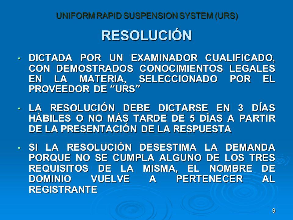 9 RESOLUCIÓN DICTADA POR UN EXAMINADOR CUALIFICADO, CON DEMOSTRADOS CONOCIMIENTOS LEGALES EN LA MATERIA, SELECCIONADO POR EL PROVEEDOR DE URS DICTADA POR UN EXAMINADOR CUALIFICADO, CON DEMOSTRADOS CONOCIMIENTOS LEGALES EN LA MATERIA, SELECCIONADO POR EL PROVEEDOR DE URS LA RESOLUCIÓN DEBE DICTARSE EN 3 DÍAS HÁBILES O NO MÁS TARDE DE 5 DÍAS A PARTIR DE LA PRESENTACIÓN DE LA RESPUESTA LA RESOLUCIÓN DEBE DICTARSE EN 3 DÍAS HÁBILES O NO MÁS TARDE DE 5 DÍAS A PARTIR DE LA PRESENTACIÓN DE LA RESPUESTA SI LA RESOLUCIÓN DESESTIMA LA DEMANDA PORQUE NO SE CUMPLA ALGUNO DE LOS TRES REQUISITOS DE LA MISMA, EL NOMBRE DE DOMINIO VUELVE A PERTENECER AL REGISTRANTE SI LA RESOLUCIÓN DESESTIMA LA DEMANDA PORQUE NO SE CUMPLA ALGUNO DE LOS TRES REQUISITOS DE LA MISMA, EL NOMBRE DE DOMINIO VUELVE A PERTENECER AL REGISTRANTE UNIFORM RAPID SUSPENSION SYSTEM (URS)
