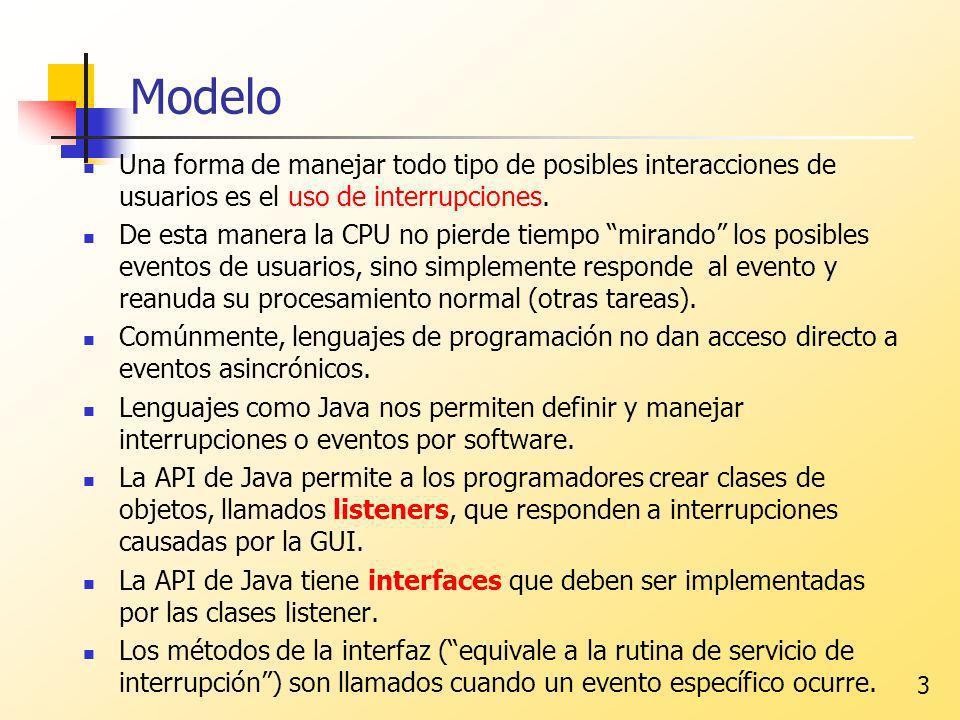 3 Modelo Una forma de manejar todo tipo de posibles interacciones de usuarios es el uso de interrupciones. De esta manera la CPU no pierde tiempo mira