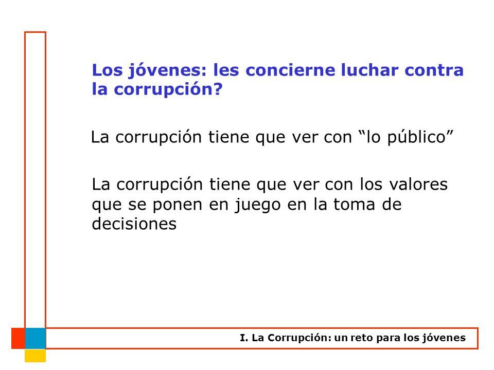 Los jóvenes: les concierne luchar contra la corrupción? La corrupción tiene que ver con lo público La corrupción tiene que ver con los valores que se