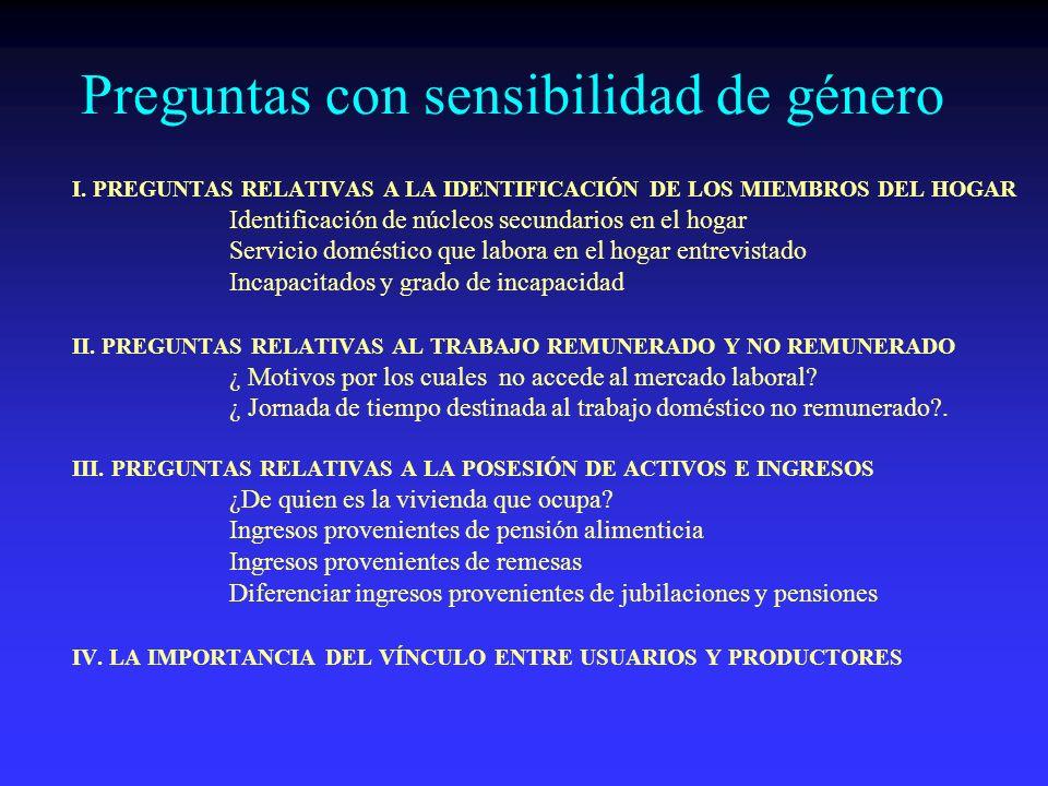 VINCULO ENTRE PRODUCTORES Y USUARIOS EL GRADO DE CONCERTACIÓN, COMUNICACIÓN Y COMPENETRACIÓN ENTRE USUARIOS Y PRODUCTORES, REFLEJARÁ LA CALIDAD Y CONFIABILIDAD DE LAS ESTADÍSTICAS RESULTANTES PARA EL ANÁLISIS DE GÉNERO, LOS PRIMEROS PUEDEN DAR PAUTAS Y ORIENTACIONES SOBRE LOS MARCOS CONCEPTUALES QUE SIRVEN DE GUÍA PARA LA INVESTIGACIÓN, Y COMUNICAR SUS NECESIDADES DE INFORMACIÓN, ASÍ COMO PROPORCIONAR CAPACITACIÓN AL PERSONAL ESTADÍSTICO QUE TRABAJA EN SUS DISTINTAS ETAPAS SOBRE LA APLICACIÓN DEL ENFOQUE DE GÉNERO.