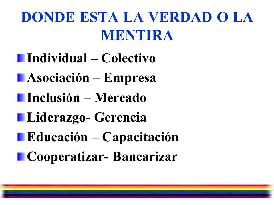 Julio/07/2006 DONDE ESTA LA VERDAD O LA MENTIRA Individual – Colectivo Asociación – Empresa Inclusión – Mercado Liderazgo- Gerencia Educación – Capacitación Cooperatizar- Bancarizar
