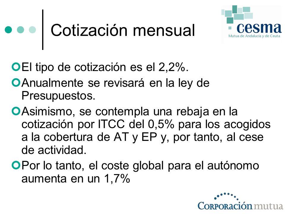 Cotización mensual El tipo de cotización es el 2,2%.