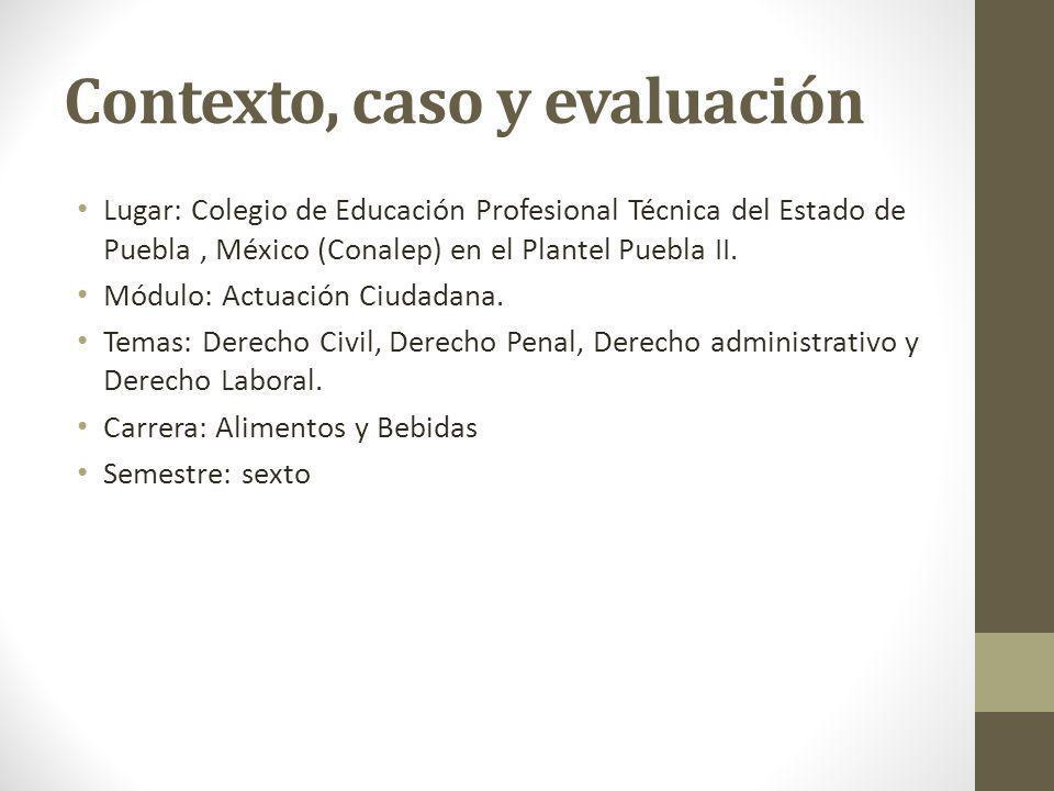 Contexto, caso y evaluación Lugar: Colegio de Educación Profesional Técnica del Estado de Puebla, México (Conalep) en el Plantel Puebla II.