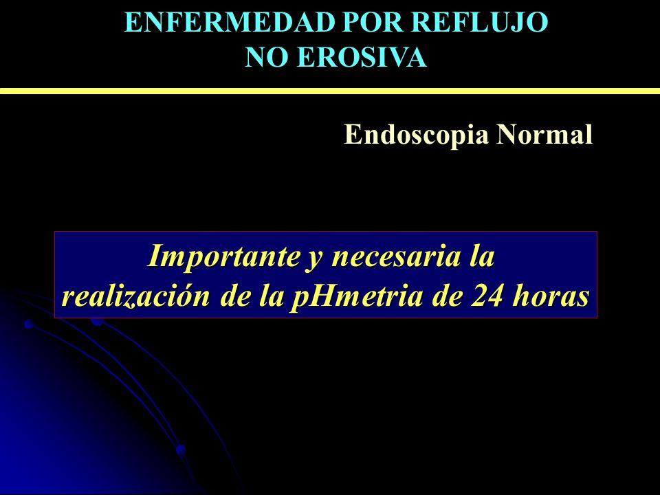 ERGE sintomática – Endoscopia Normal Importante y necesaria la realización de la pHmetria de 24 horas ENFERMEDAD POR REFLUJO NO EROSIVA