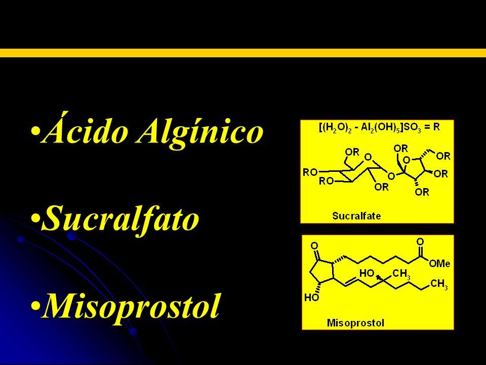 AGENTES PROTECTORES DE LA MUCOSA Ácido AlgínicoÁcido Algínico SucralfatoSucralfato MisoprostolMisoprostol