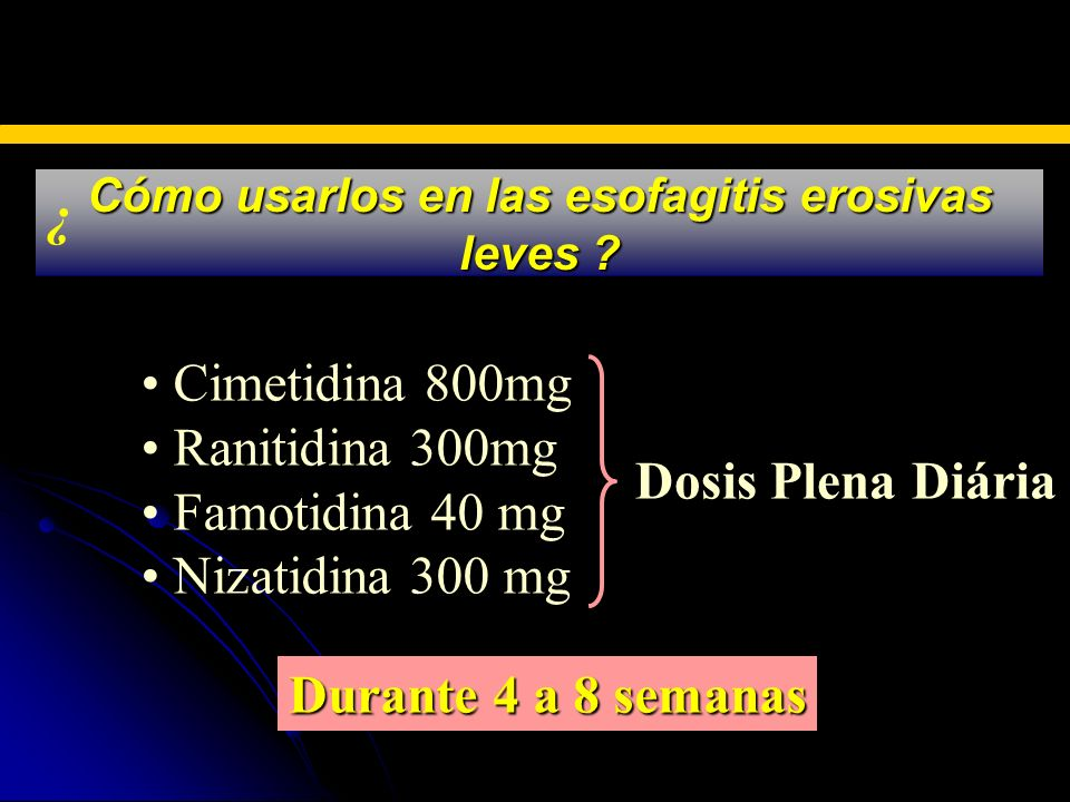 Cómo usarlos en las esofagitis erosivas leves ? BLOQUEADORES H2 Cimetidina 800mg Ranitidina 300mg Famotidina 40 mg Nizatidina 300 mg Dosis Plena Diári