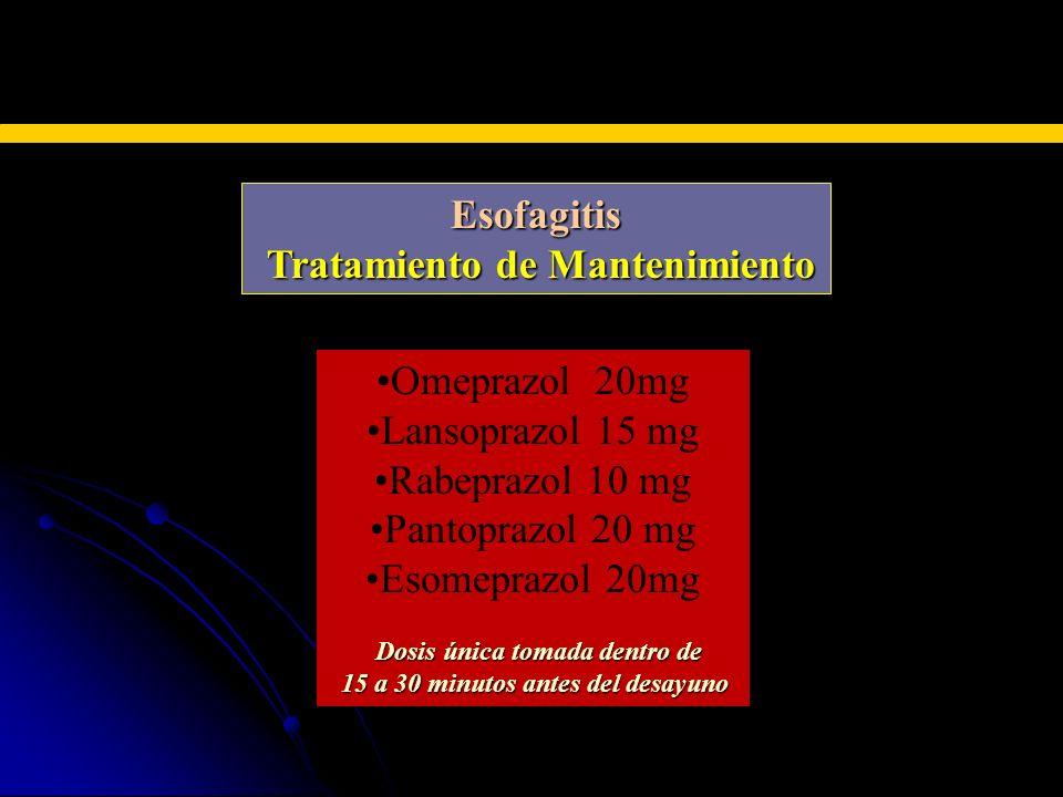 INHIBIDORES DE LAS BOMBAS DE PROTONES Esofagitis Tratamiento de Mantenimiento Tratamiento de Mantenimiento Omeprazol 20mg Lansoprazol 15 mg Rabeprazol