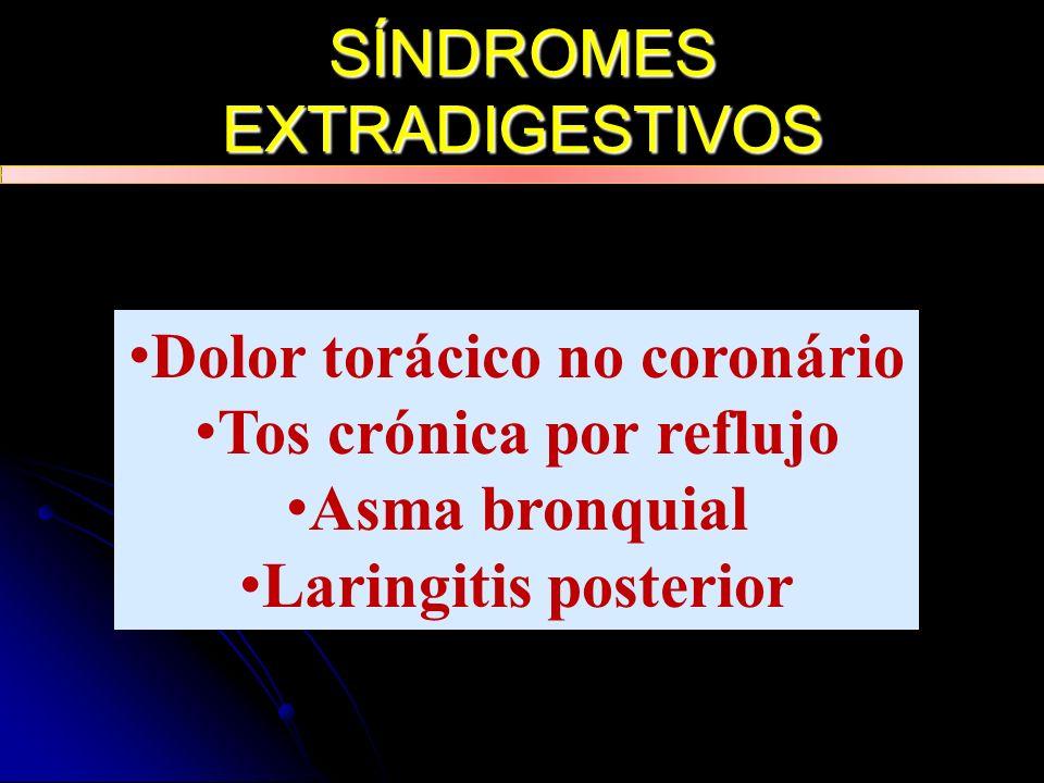 SÍNDROMES EXTRADIGESTIVOS Dolor torácico no coronário Tos crónica por reflujo Asma bronquial Laringitis posterior