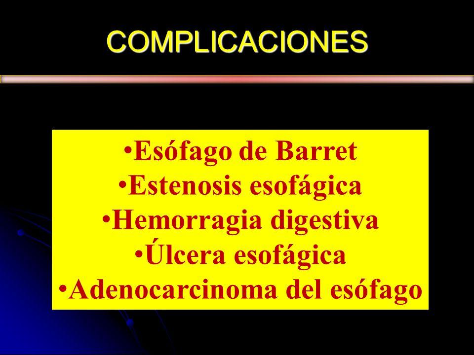 COMPLICACIONES Esófago de Barret Estenosis esofágica Hemorragia digestiva Úlcera esofágica Adenocarcinoma del esófago