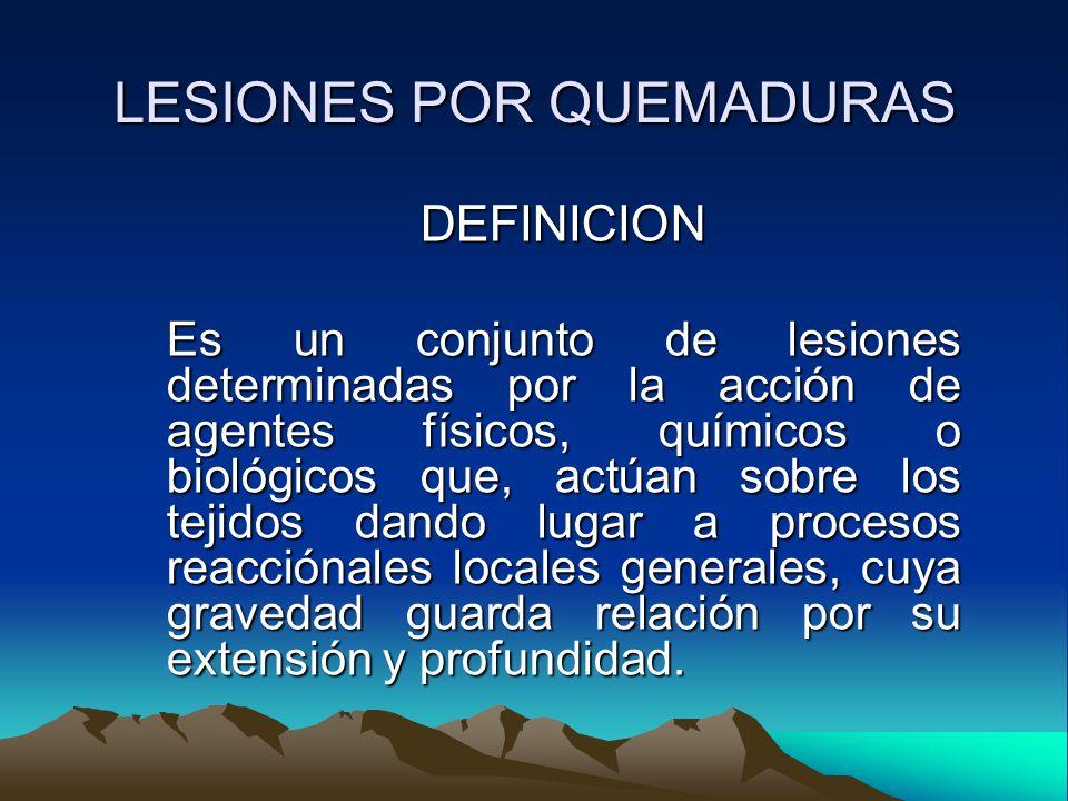 LESIONES POR QUEMADURAS QUEMADURAS POR CALOR: Es la lesión producida por un cuerpo caliente.