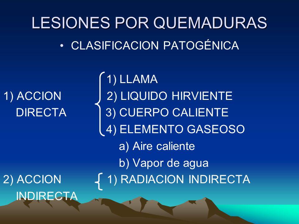 LESIONES POR QUEMADURAS CLASIFICACION PATOGÉNICA 1) LLAMA 1) ACCION 2) LIQUIDO HIRVIENTE DIRECTA 3) CUERPO CALIENTE 4) ELEMENTO GASEOSO a) Aire caliente b) Vapor de agua 2) ACCION 1) RADIACION INDIRECTA INDIRECTA