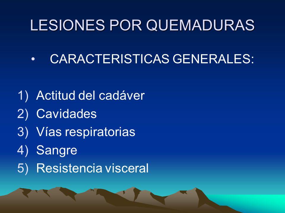 LESIONES POR QUEMADURAS CARACTERISTICAS GENERALES: 1)Actitud del cadáver 2)Cavidades 3)Vías respiratorias 4)Sangre 5)Resistencia visceral