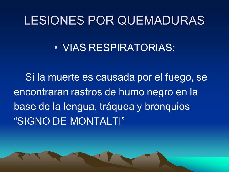 LESIONES POR QUEMADURAS VIAS RESPIRATORIAS: Si la muerte es causada por el fuego, se encontraran rastros de humo negro en la base de la lengua, tráque