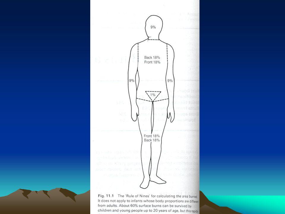 LESIONES POR QUEMADURAS B) CLINICA (DUPUYTREN) 1) PRIMER GRADO 2) SEGUNDO GRADO 3) TERCER GRADO 4) CUARTO GRADO 5) QUINTO GRADO 6) SEXTO GRADO Eritema superficial Eritema, fictenas Destrucción del cuerpo papilar Destrucción de toda la piel, dejando al descubierto el tejido celular subcutáneo Destrucción de aponeurosis y músculos sin llegar al hueso Carbonización de todos los planos.