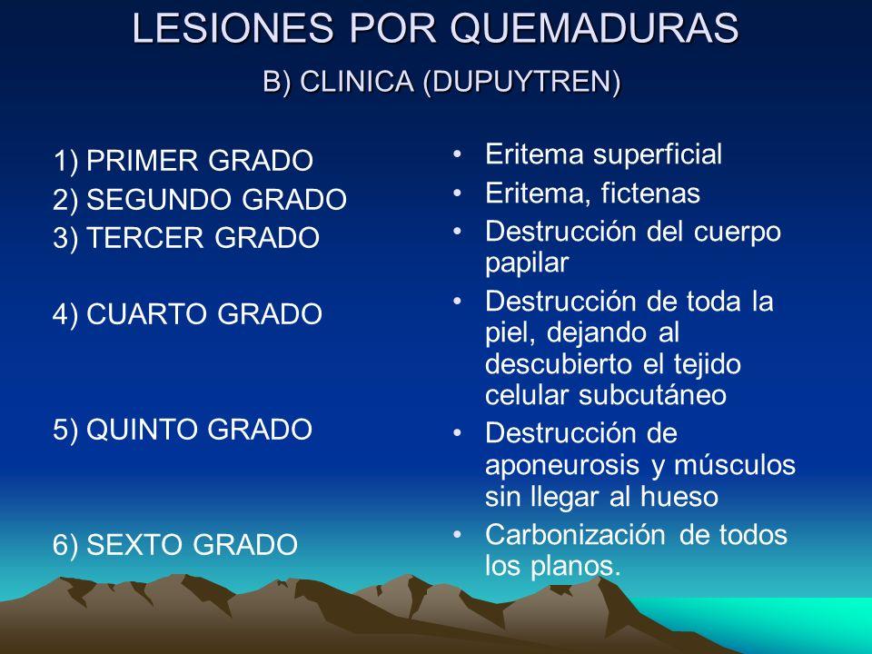 LESIONES POR QUEMADURAS B) CLINICA (DUPUYTREN) 1) PRIMER GRADO 2) SEGUNDO GRADO 3) TERCER GRADO 4) CUARTO GRADO 5) QUINTO GRADO 6) SEXTO GRADO Eritema