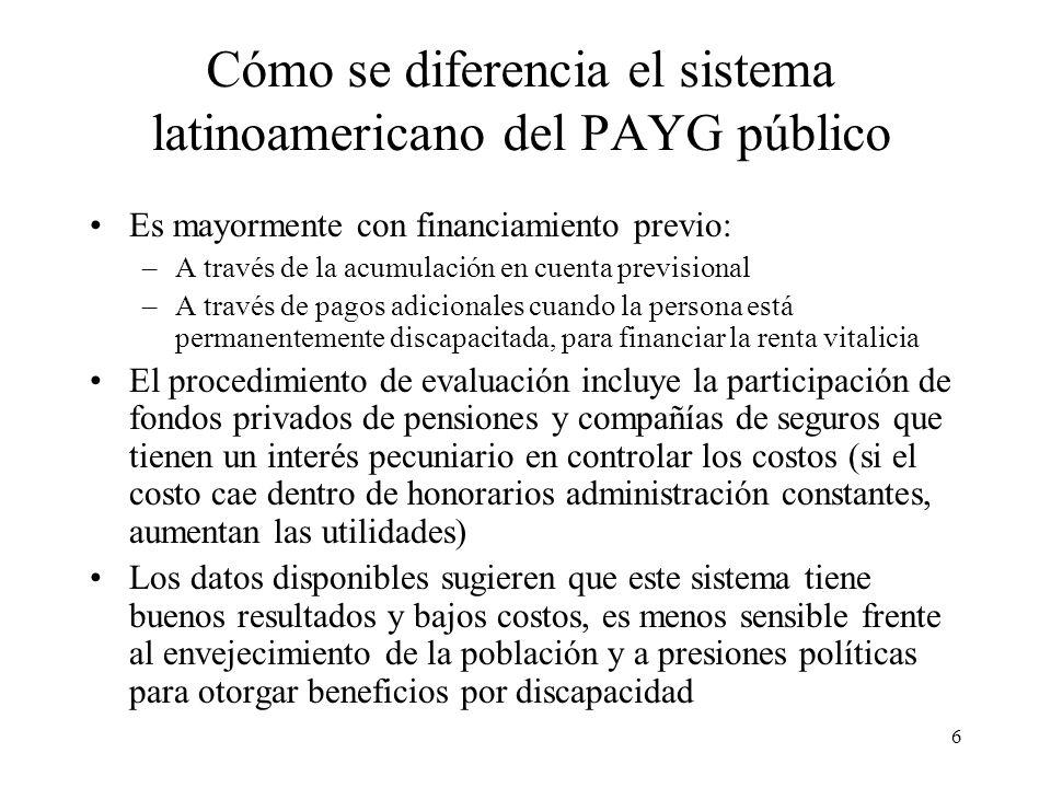 6 Cómo se diferencia el sistema latinoamericano del PAYG público Es mayormente con financiamiento previo: –A través de la acumulación en cuenta previsional –A través de pagos adicionales cuando la persona está permanentemente discapacitada, para financiar la renta vitalicia El procedimiento de evaluación incluye la participación de fondos privados de pensiones y compañías de seguros que tienen un interés pecuniario en controlar los costos (si el costo cae dentro de honorarios administración constantes, aumentan las utilidades) Los datos disponibles sugieren que este sistema tiene buenos resultados y bajos costos, es menos sensible frente al envejecimiento de la población y a presiones políticas para otorgar beneficios por discapacidad