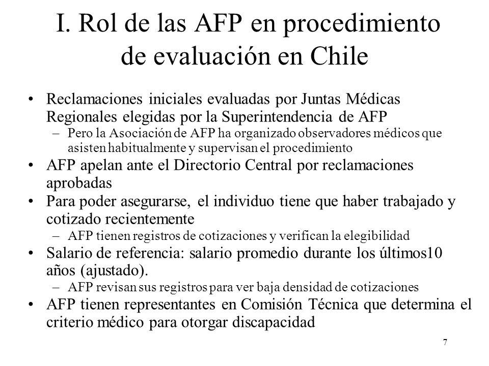 7 I. Rol de las AFP en procedimiento de evaluación en Chile Reclamaciones iniciales evaluadas por Juntas Médicas Regionales elegidas por la Superinten