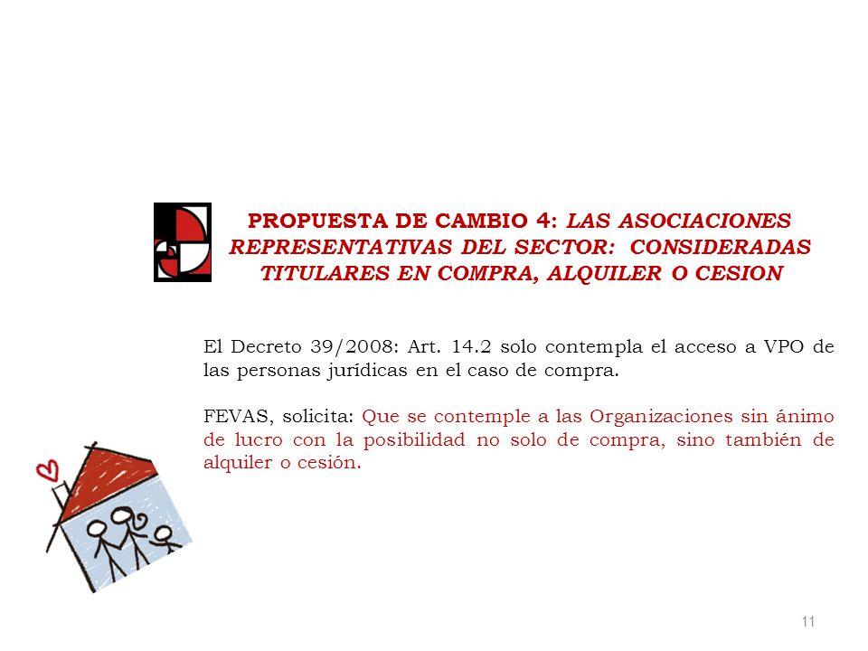 11 PROPUESTA DE CAMBIO 4: LAS ASOCIACIONES REPRESENTATIVAS DEL SECTOR: CONSIDERADAS TITULARES EN COMPRA, ALQUILER O CESION El Decreto 39/2008: Art.