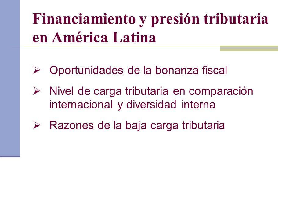 Financiamiento y presión tributaria en América Latina Oportunidades de la bonanza fiscal Nivel de carga tributaria en comparación internacional y dive