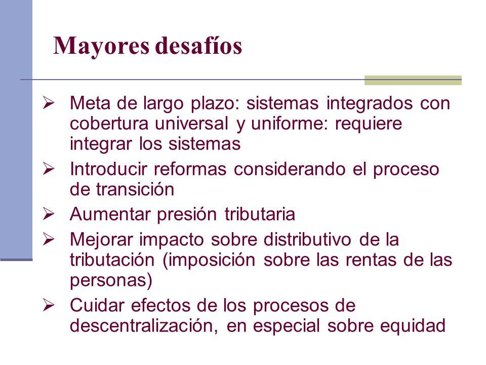 Mayores desafíos Meta de largo plazo: sistemas integrados con cobertura universal y uniforme: requiere integrar los sistemas Introducir reformas consi