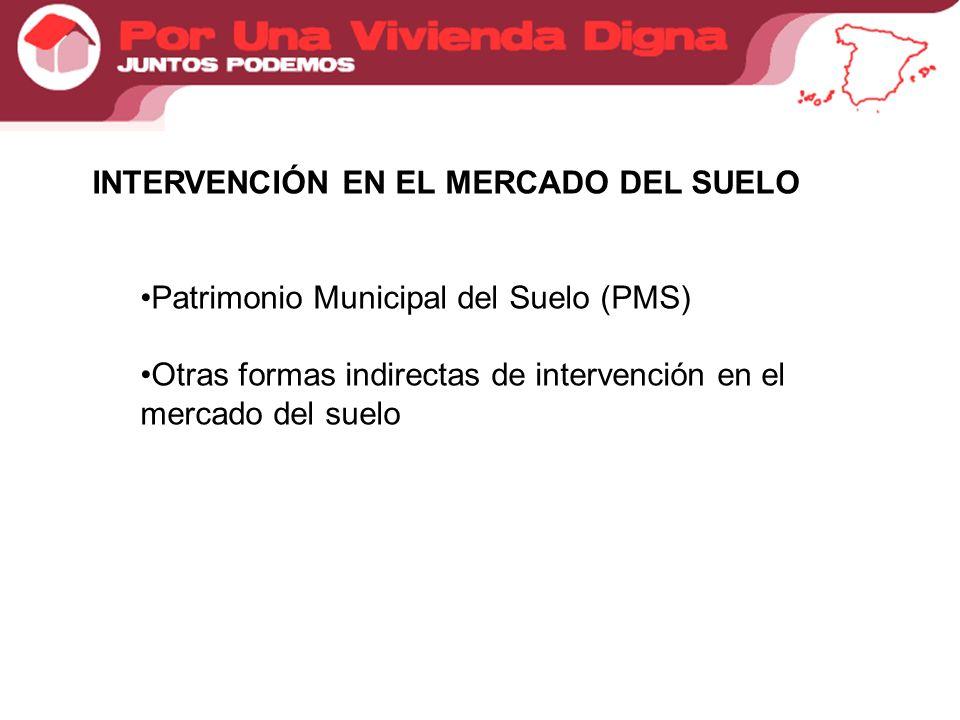INTERVENCIÓN EN EL MERCADO DEL SUELO Patrimonio Municipal del Suelo (PMS) Otras formas indirectas de intervención en el mercado del suelo
