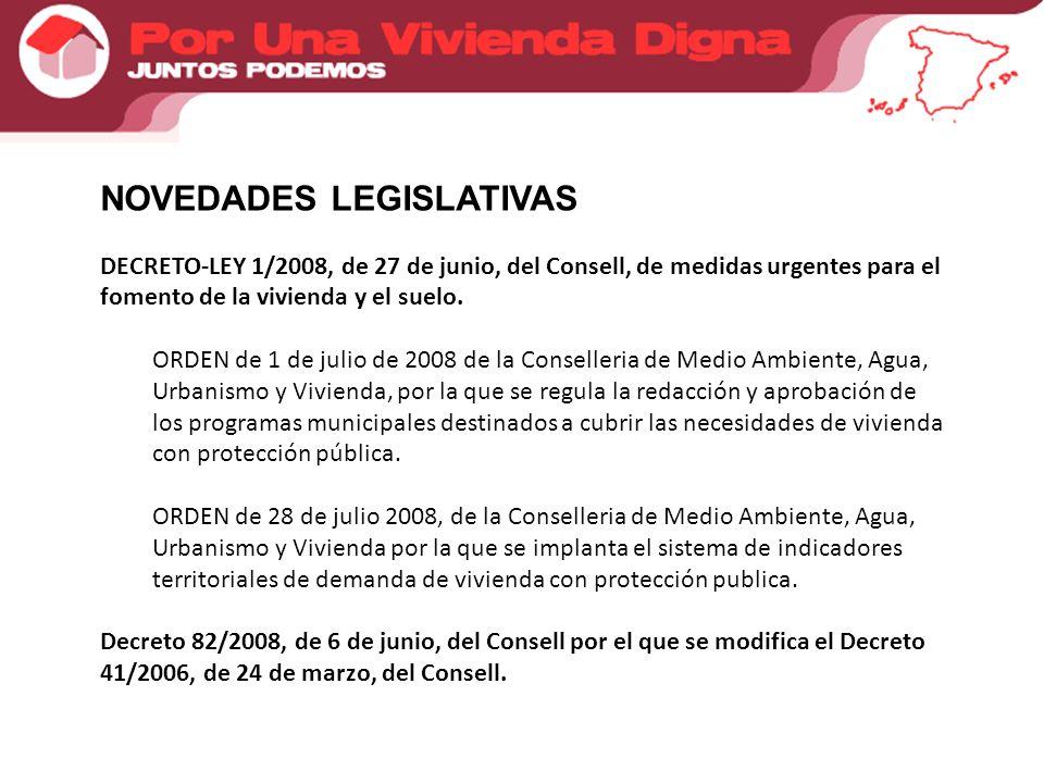 NOVEDADES LEGISLATIVAS DECRETO-LEY 1/2008, de 27 de junio, del Consell, de medidas urgentes para el fomento de la vivienda y el suelo.