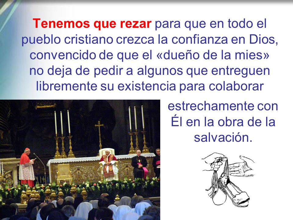 Nuestro primer deber ha de ser por tanto mantener viva, con oración incesante, esa invocación de la iniciativa divina en las familias y en las parroqu