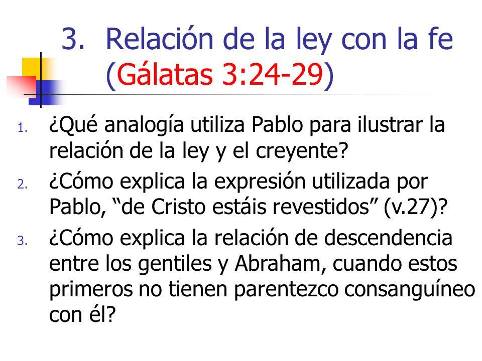 1. ¿Qué analogía utiliza Pablo para ilustrar la relación de la ley y el creyente? 2. ¿Cómo explica la expresión utilizada por Pablo, de Cristo estáis