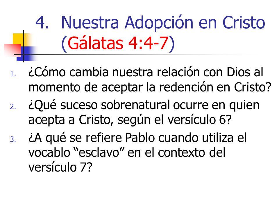 1. ¿Cómo cambia nuestra relación con Dios al momento de aceptar la redención en Cristo? 2. ¿Qué suceso sobrenatural ocurre en quien acepta a Cristo, s