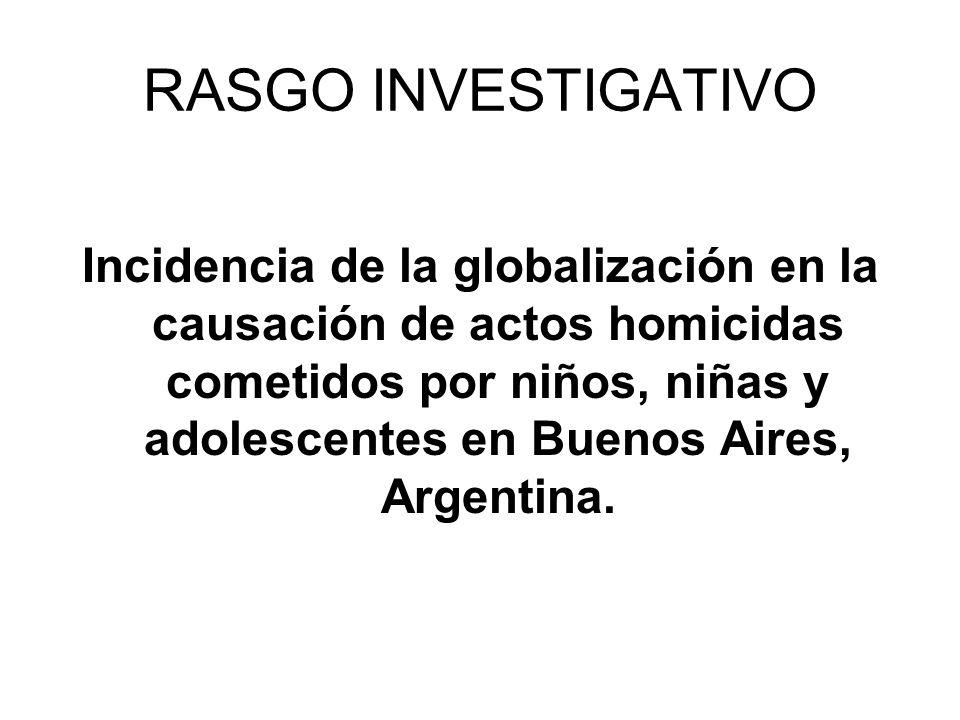 RASGO INVESTIGATIVO Incidencia de la globalización en la causación de actos homicidas cometidos por niños, niñas y adolescentes en Buenos Aires, Argentina.