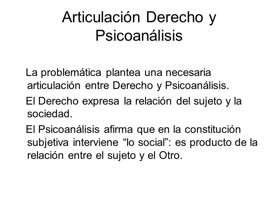 Articulación Derecho y Psicoanálisis La problemática plantea una necesaria articulación entre Derecho y Psicoanálisis.