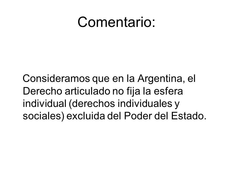 Comentario: Consideramos que en la Argentina, el Derecho articulado no fija la esfera individual (derechos individuales y sociales) excluida del Poder del Estado.