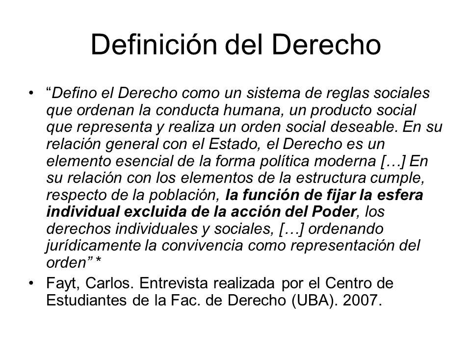 Definición del Derecho Defino el Derecho como un sistema de reglas sociales que ordenan la conducta humana, un producto social que representa y realiza un orden social deseable.