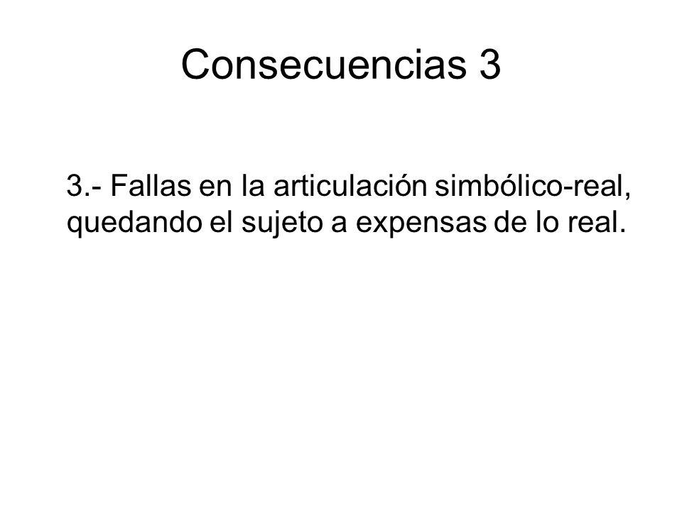 Consecuencias 3 3.- Fallas en la articulación simbólico-real, quedando el sujeto a expensas de lo real.