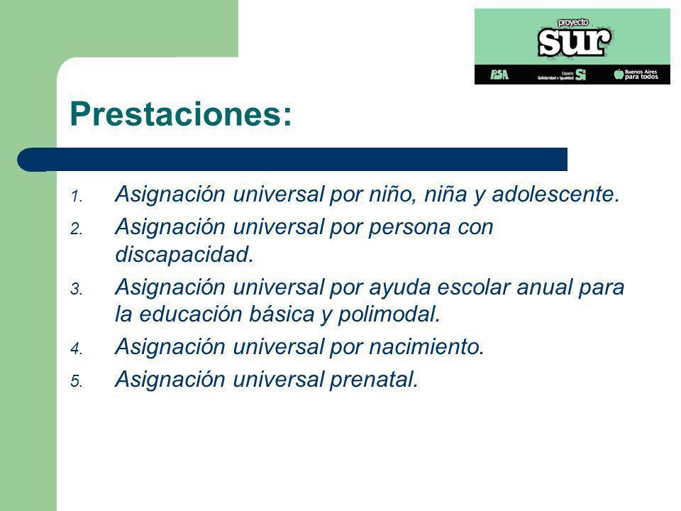 Prestaciones: 1. Asignación universal por niño, niña y adolescente. 2. Asignación universal por persona con discapacidad. 3. Asignación universal por