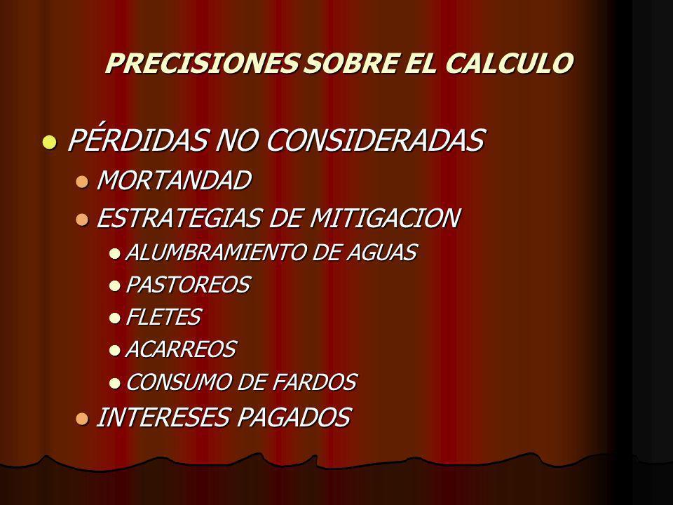 PRECISIONES SOBRE EL CALCULO PÉRDIDAS NO CONSIDERADAS PÉRDIDAS NO CONSIDERADAS MORTANDAD MORTANDAD ESTRATEGIAS DE MITIGACION ESTRATEGIAS DE MITIGACION ALUMBRAMIENTO DE AGUAS ALUMBRAMIENTO DE AGUAS PASTOREOS PASTOREOS FLETES FLETES ACARREOS ACARREOS CONSUMO DE FARDOS CONSUMO DE FARDOS INTERESES PAGADOS INTERESES PAGADOS