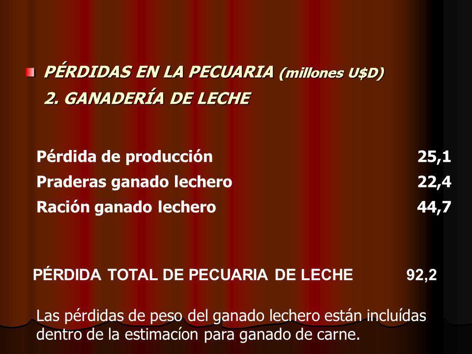 RESUMEN GENERAL DE PÉRDIDAS SECTOR PRIMARIO (millones U$D) Pérdidas totales 868,4 Agricultura 125,5 Soja71,2 Maiz19,1 Sorgo2,3 Girasol3,9 Arroz-7,8 Papa6,4 Citricultura30,0 Carne651,1 Leche 92,2