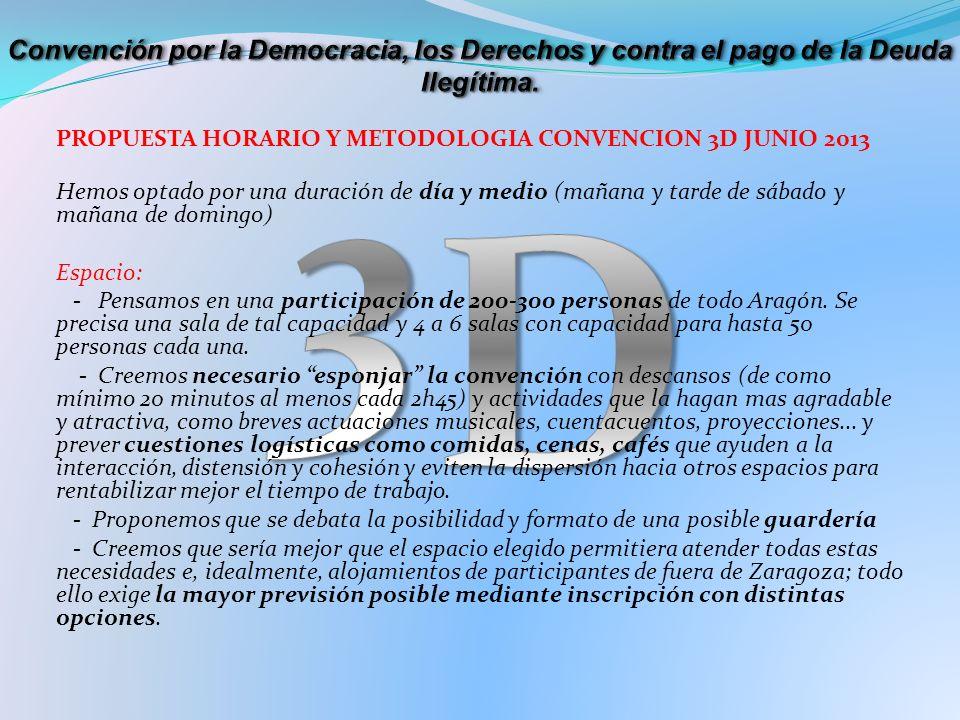 PROPUESTA HORARIO Y METODOLOGIA CONVENCION 3D JUNIO 2013 Hemos optado por una duración de día y medio (mañana y tarde de sábado y mañana de domingo) Espacio: - Pensamos en una participación de 200-300 personas de todo Aragón.