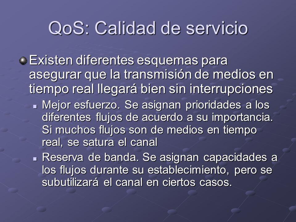 QoS: Calidad de servicio Existen diferentes esquemas para asegurar que la transmisión de medios en tiempo real llegará bien sin interrupciones Mejor e